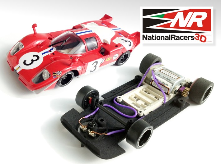3D chassis - Fly Ferrari 512 (SW) 3d printed Chassis compatible with Fly model (slot car and other parts not included)