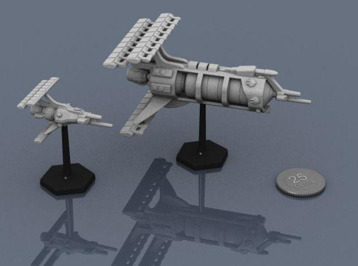 LCS Dartship 3d printed Dartship and Carrier on standard flight stands.