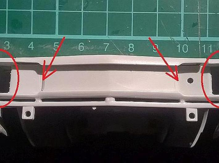 1/25 1969 Plymouth GTX Grill 3d printed filing necessary at marked areas