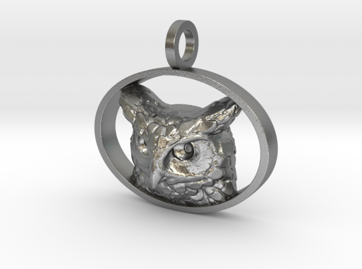 Great Horned Owl Pendant 3d printed