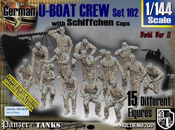 1/144 German U-Boot Crew Set102 3d printed