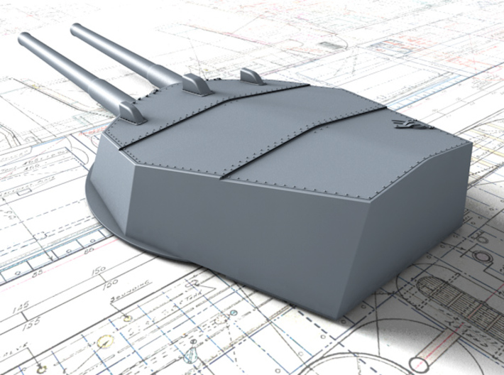 """1/350 HMS Australia/New Zealand 1913 12"""" MKX Guns  3d printed 3d render showing Turret P, Q and Y  detail"""