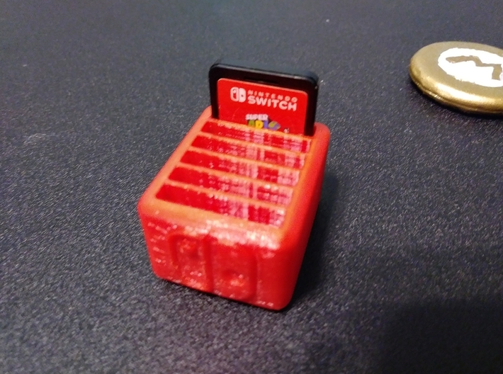 6-Game Nintendo Switch Cartridge Case 3d printed FDM Test Print in use