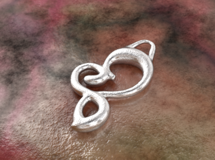 Twisted heart 3d printed raw silver material