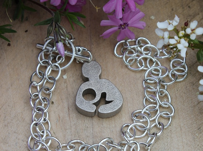 Breastfeeding Pendant 3d printed Breastfeeding Pendant (in Polished Nickel Steel)