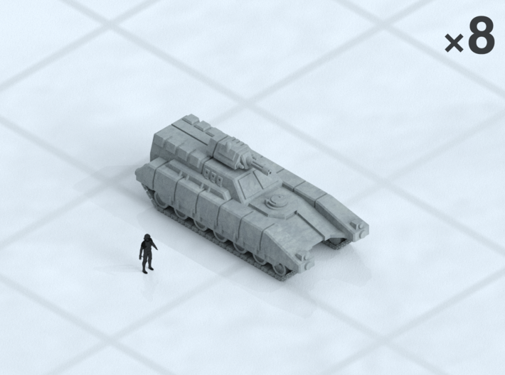 "6mm Tracked IFV (8) 3d printed Shown on 1"" grid with 6mm figure (not included) for scale."