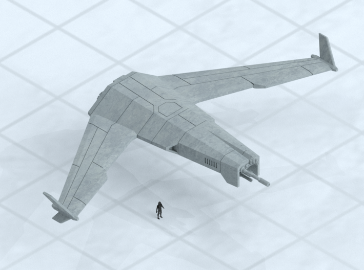 """6mm Strike Fighter 3d printed Shown on 1"""" grid with 6mm figure (not included) for scale."""