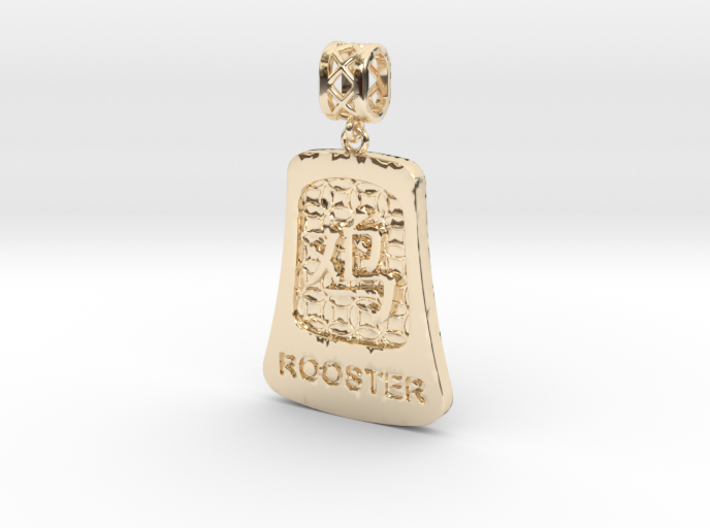 Chinese 12 animals pendant with bail - therooster 3d printed