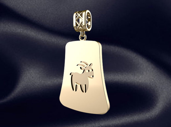 Chinese 12 animals pendant with bail - the sheep 3d printed RENDER PREVIEW