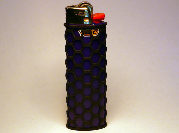 Honey Comb Lighter Case 3d printed Purple BIc