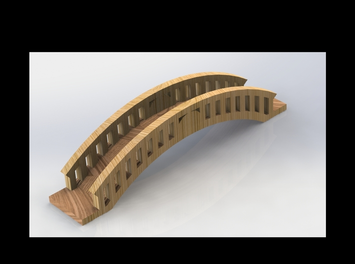 Micro Garden Bridge 3d printed Simulated appearance (NOT PAINTED)