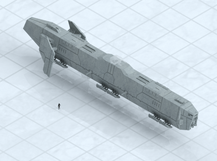 "6mm Grav Frigate 3d printed Shown on 1"" grid with 6mm figure (not included) for scale."