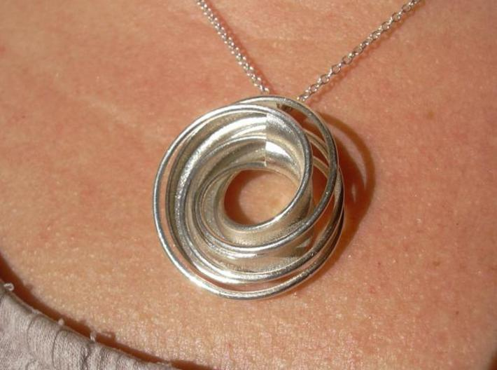 Twin Rail Mobius Pendant - small 3d printed Photo - 3D printed in Silver