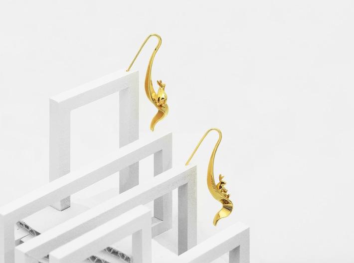 Rabbit Earrings (Listening) 3d printed