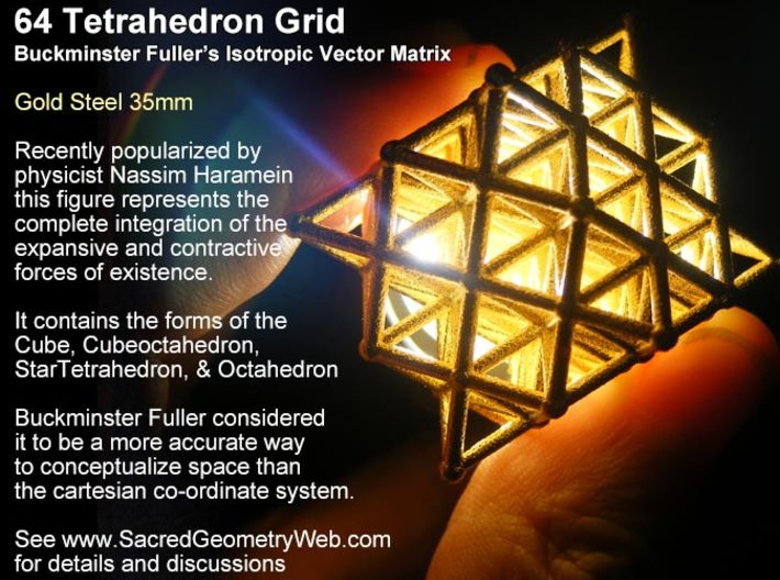 Sacred Geometry: 64 Grid Tetrahedron 35x1mm 3d printed