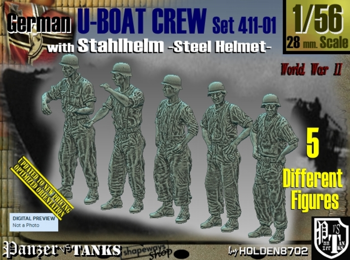1/56 German U-Boot Crew Set411-01 3d printed
