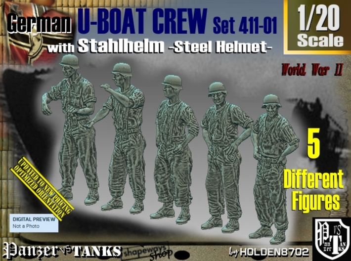1/20 German U-Boot Crew Set411-01 3d printed
