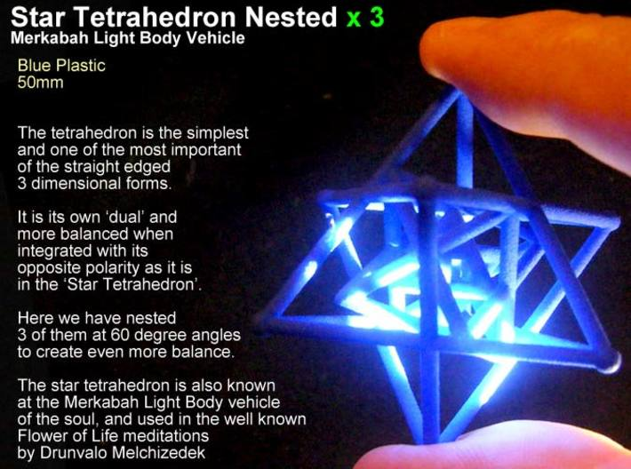 3 Merkabah Star Tetrahedrons Nested 50mm 3d printed