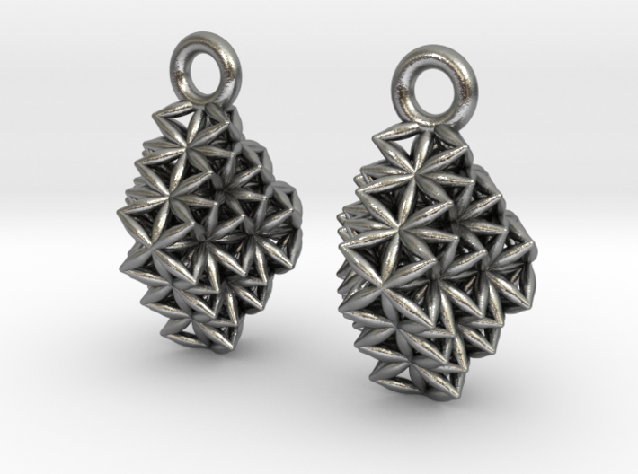 Time Crystal Earrings Small Pair 3d printed