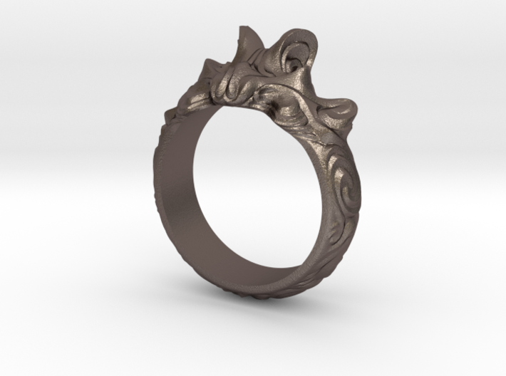 Sweeping waves ring abstract 3d printed