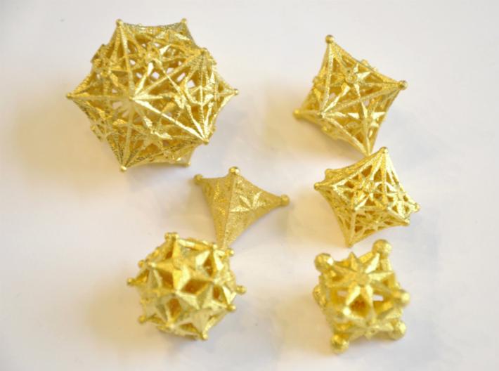 Radiant Dice Set - Balanced 3d printed Matte Gold Steel - No longer available