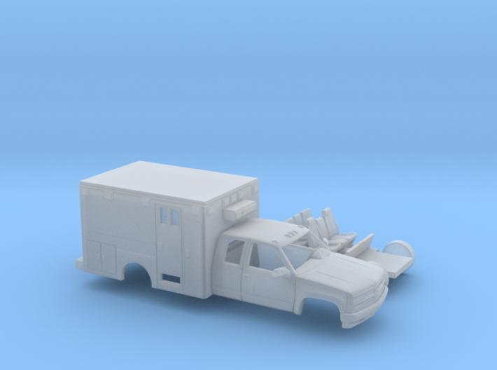 1/87 1990-98 Chevy Silverado ExtCab Ambulance Kit 3d printed