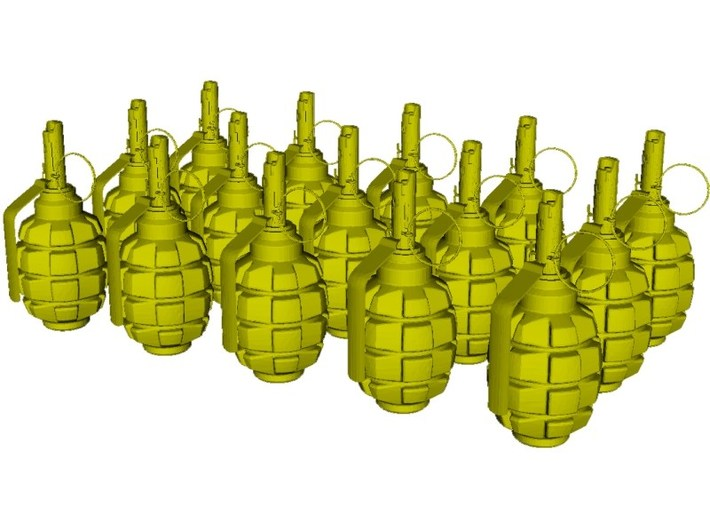 1/10 scale F-1 Soviet hand grenades x 15 3d printed