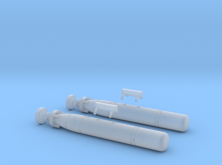 Mark 44 Torpedo with Wasp Pylons 3d printed Mark 44 Torpedo with Wasp Pylons (1/72 Scale)