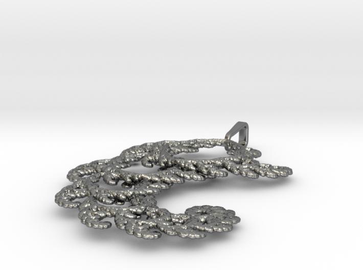 6cm Fractal lace, intricate spirals pendant  3d printed