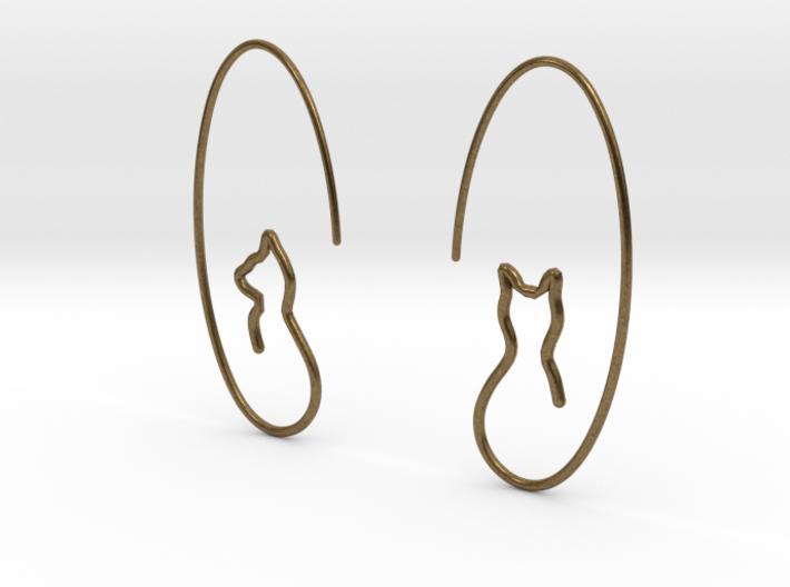 Single Line Cats Earrings 3d printed