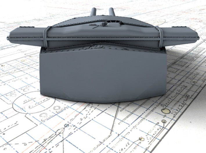 "1/192 HMS Hood 15"" Mark II Turrets 1920 B. Bags 3d printed 3d render showing B Turret detail"