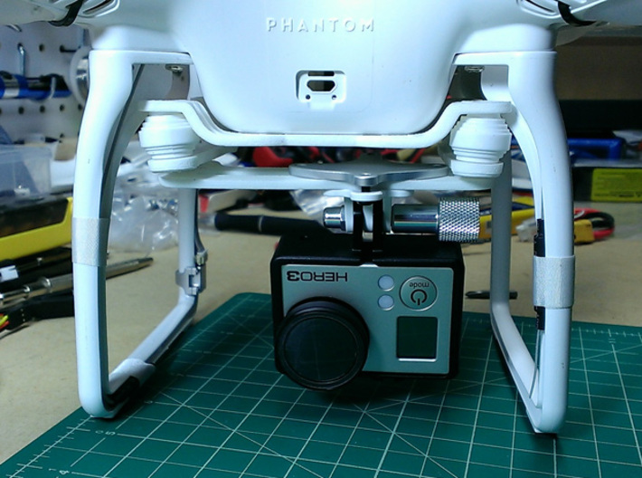 DJI Phantom 2 Universal Camera Mount Lite 3d printed With GoPro installed