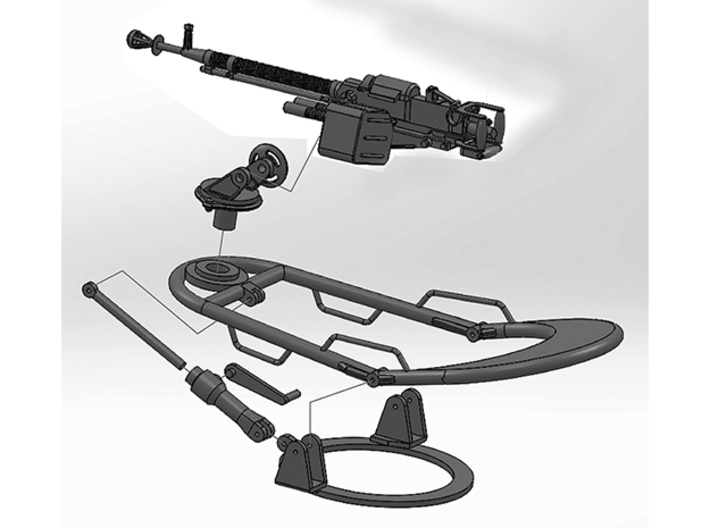 DShK Tank Mount 1:35 Scale Elevating rod 3d printed Exploded View