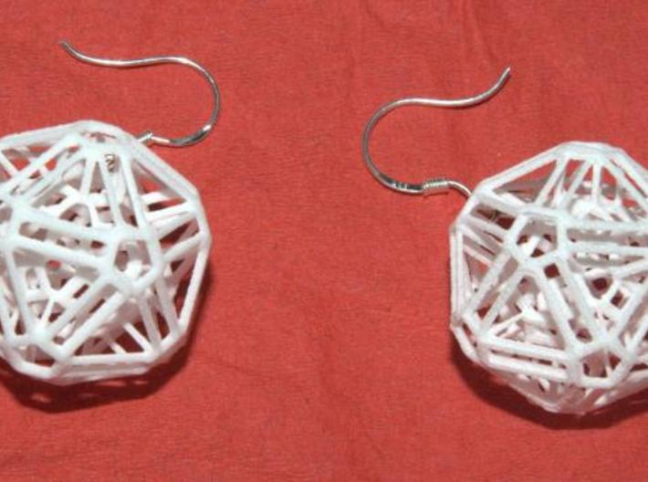 Intricate icosohedron earrings 3d printed