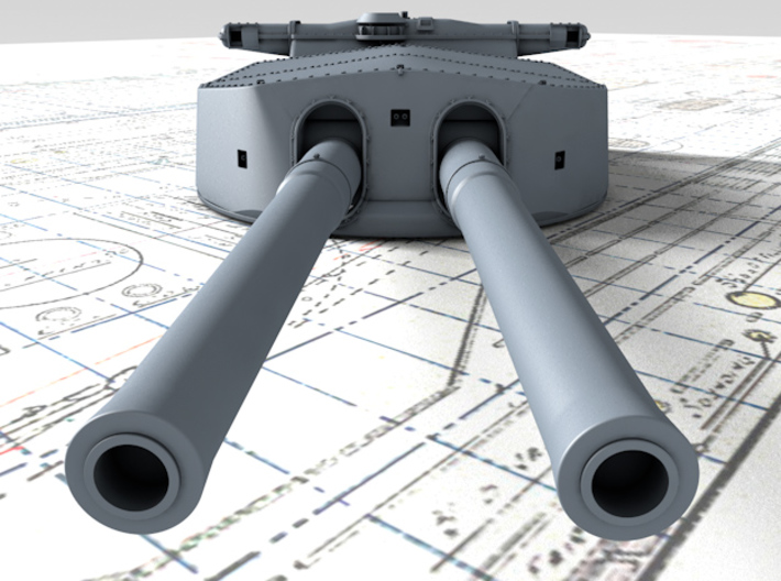 "1/720 HMS Hood 15"" (38.1 cm) Mark II Turrets 1920 3d printed 3d render showing A Turret detail"