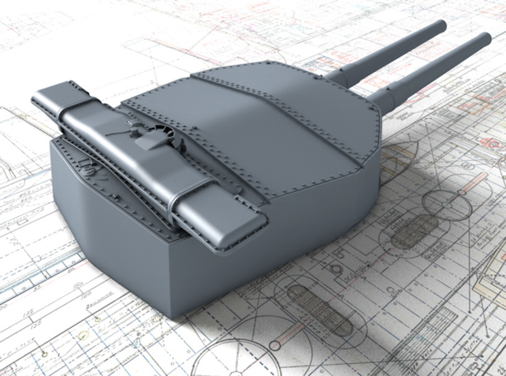 "1/720 HMS Hood 15"" (38.1 cm) Mark II Turrets 1920 3d printed 3d render showing X and  Y Turret detail"