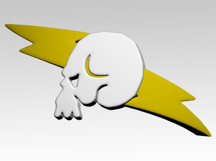Skull & Lightning 2 Shoulder Icons x50 3d printed Product is sold unpainted.