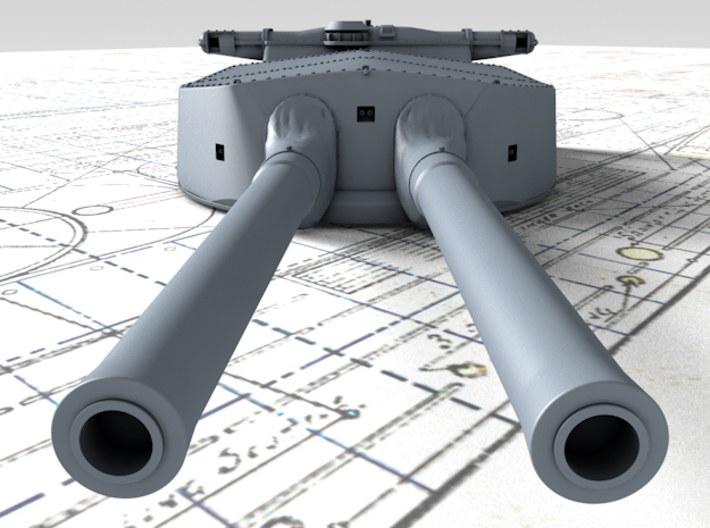 "1/720 HMS Hood 15"" Mark II Turrets 1920 B. Bags 3d printed 3d render showing A Turret detail"