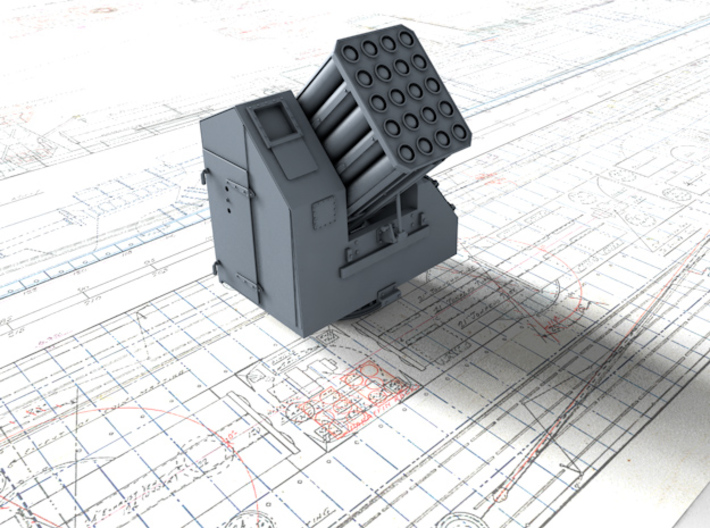 """1/72 Royal Navy 7"""" UP Launcher x1 3d printed 3d render showing product detail"""