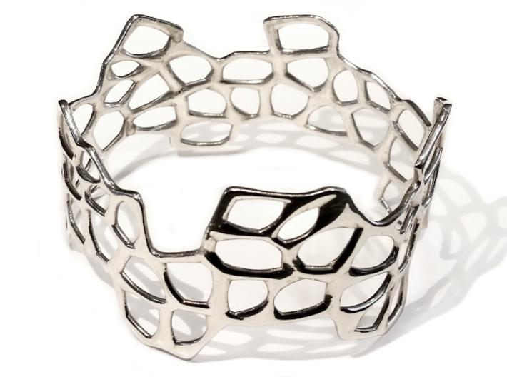 Cells Bracelet (67mm) 3d printed in polished silver