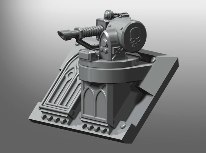 LaserCannon Rhinoceros Weapon 3d printed Rhinoceros mk3 Gothic Pattern Frontal Plate not included.