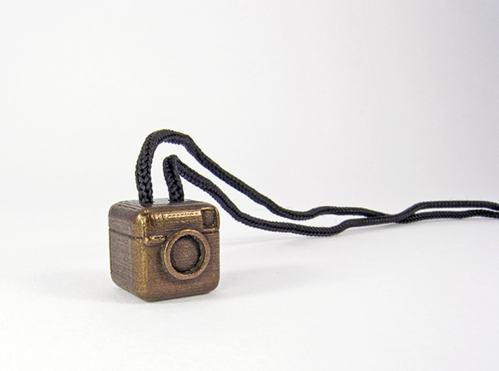 Instagram Style Camera (Pendant 16mm) 3d printed 16mm - Polished Bronze Steel
