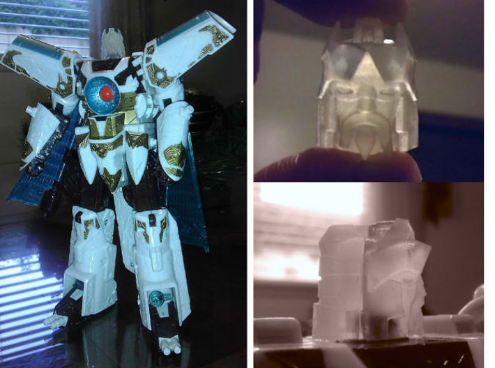 Alpha Trion homage Lord Valen for TF Voyager Vecto 3d printed Valen Head in Frosted Ultra Detail on TF Voyager Vector Prime