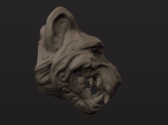 Oni-Tiger Miniature Decorative Noh Mask 3d printed Profile Clay Render of Large Mask Showing Open Back