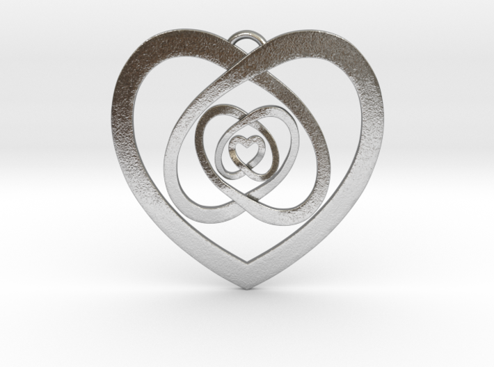 """Nested Hearts Pendant 1"""" 3d printed"""