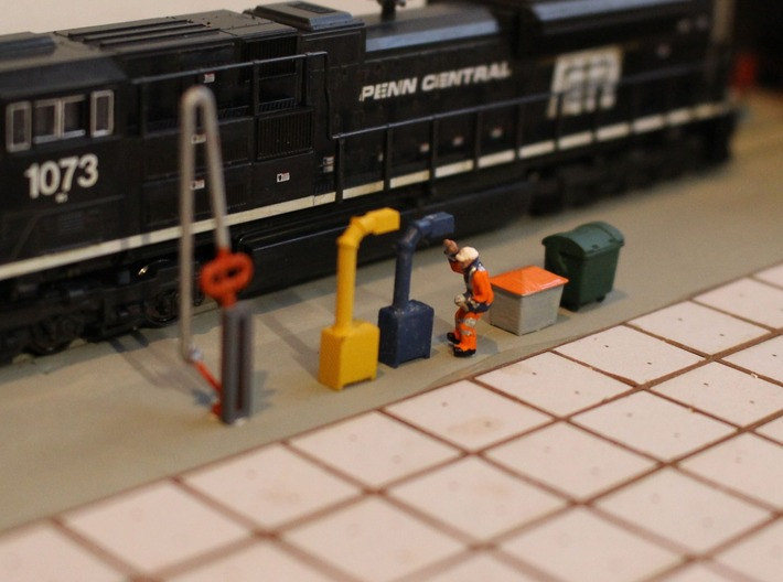 N Scale 12x Boom Cabinet 3d printed Little plastic guy trying to pull the hose out of the boom. Fuel crane available separately.
