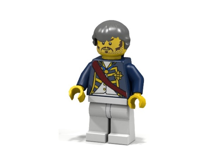 Periwig V2 3d printed British Admiral with Periwig (Render of an example Usage)