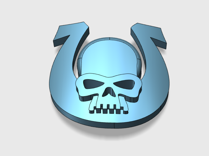 20x Ultra Skull : Bent Insignia pack 3d printed Bent to fit curved surfaces. Roughly same size as shoulder insignias.