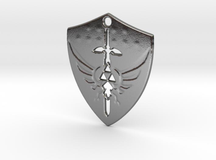 Zelda Triforce Hylian Shield Pendant 3d printed