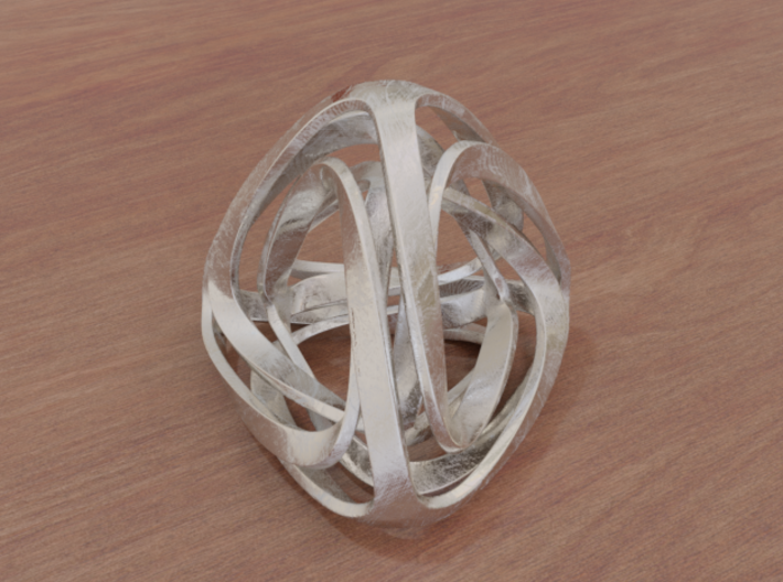 Twisted Tetrahedron (Thin) 3d printed Stainless Steel (render)